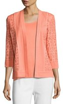 Misook Animal-Print Sheer Knit Jacket, Petite