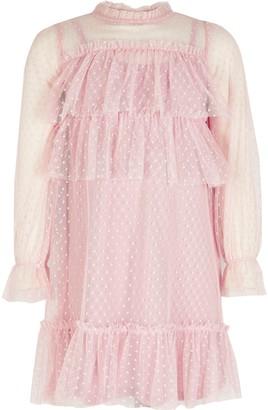 River Island Girls Pink mesh frill long sleeve dress