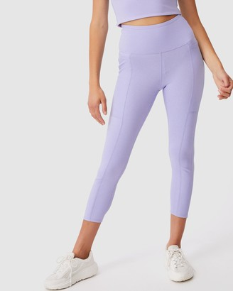 Cotton On Body Active - Women's Purple Tights - Rib Pocket 7-8 Tights - Size XS at The Iconic