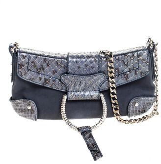 Dolce & Gabbana Blue Suede and Python Chain Clutch