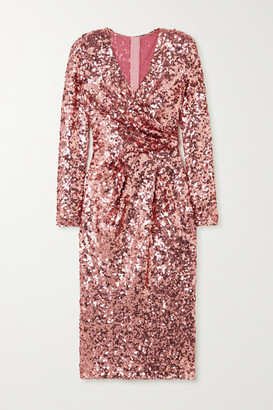 Dolce & Gabbana Wrap-effect Sequined Tulle Midi Dress - Pink
