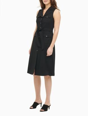Calvin Klein Notch Lapel Button-Down Belted Sleeveless A-Line Dress