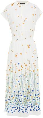 Markus Lupfer Drew Gathered Floral-print Crepe Mdi Dress