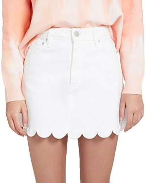 Alice + Olivia Good Scalloped Denim Mini Skirt