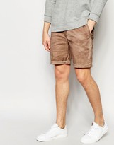 Asos Slim Chino Shorts In Tan With Oil Wash