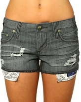 Stitch's - Women's Blue Pinstriped Shreds Short