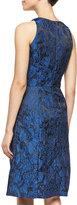 Carmen Marc Valvo Lace-Overlay Cocktail Dress