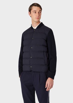 Paul Smith Men's Navy Down-Filled Bomber Jacket With Knitted Sleeves