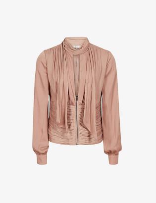 Reiss Sky Plunge neck-tie crepe blouse