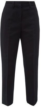 Margaret Howell Tailored Cotton-needlecord Cropped Trousers - Womens - Navy