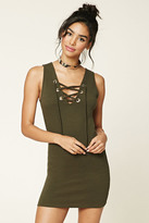Forever 21 FOREVER 21+ Lace-Up Bodycon Dress