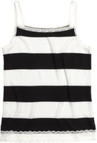 H&M Ribbed Tank Top with Lace - Black/striped - Kids