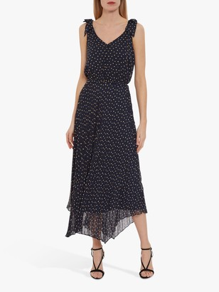 Gina Bacconi Maxie Spot Chiffon Midi Dress, Navy