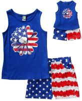 Dollie & Me Girls 4-14 Patriotic Flower Tank Top & Poplin Denim Shorts Set