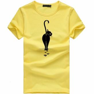 Lazzboy Women Lazzboy Tee Women Girls Cat Ass Tail Print T Shirt Short Sleeve Plus Size UK 8-18 Ladies Slouch Blouse Oversized(L(12) Black)