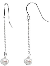 Aqua Cultured Freshwater Pearl Chain Drop Earrings - 100% Exclusive