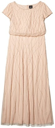 Adrianna Papell Plus Size Long Beaded Blouson Gown (Champagne Sand) Women's Dress