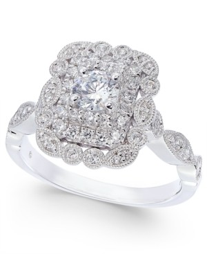 Macy's Diamond Vintage-Look Engagement Ring (5/8 ct. t.w.) in 14k White Gold