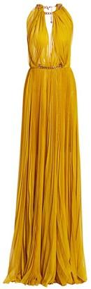 Oscar de la Renta Highneck Pleated Chain Gown