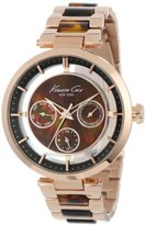 Kenneth Cole New York Multifunction Metal and Brown Marble Link Strap Women's watch #KC4929