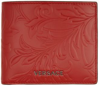 Versace Red Embossed Barocco Bifold Wallet