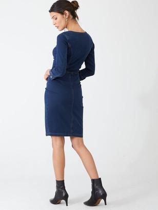 Very Square Neck Denim Button Through Dress - Indigo