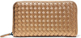 Bottega Veneta Metallic Intrecciato Leather Continental Wallet - Gold