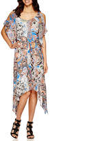 Robbie Bee Cold Shoulder Paisley Print Maxi Dress