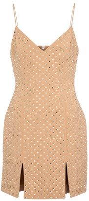 David Koma Crystal-embellished crepe minidress