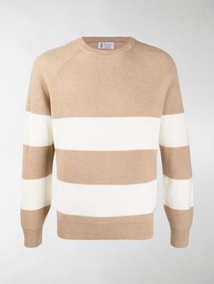 Brunello Cucinelli Striped Cashmere Knit Jumper