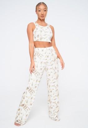 Missguided Beige Dollar Print Pyjama Set
