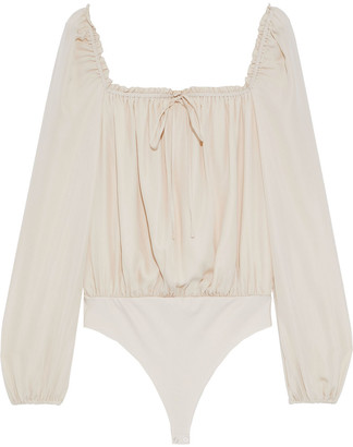 CAMI NYC The Dolly Ruffle-trimmed Silk Thong Bodysuit