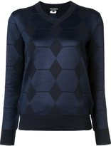 Junya Watanabe Comme Des Garçons - diamond panel v-neck jumper - women - Wool/Polyester - M