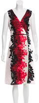 Carolina Herrera Leaf Print V-Neck Dress