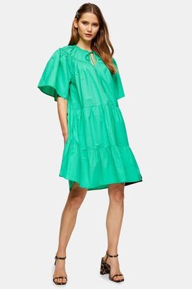 Topshop Green Poplin Smock Mini Dress