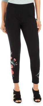 Style&Co. Style & Co Petite Floral-Embroidered Leggings, Created for Macy's