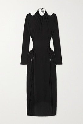 Dion Lee Cutout Gathered Jersey Maxi Dress - Black