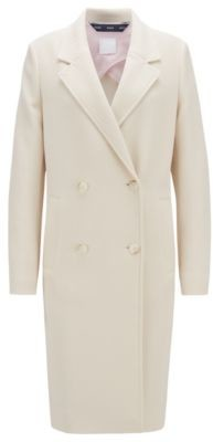 HUGO BOSS Relaxed-fit coat in waffle-structured stretch fabric