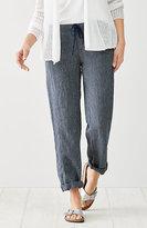 J. Jill Linen Drawstring-Waist Pinstriped Pants