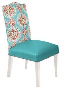 Loni M Designs Mirage Genuine Leather Upholstered Dining Chair (Set of 2 Color: White