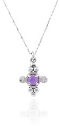 Lee Renee Amethyst & Diamonds Cross Necklace - Silver