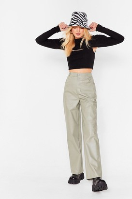 Nasty Gal Womens We're Always On Your Wide Faux Leather Pants - Grey-Khaki