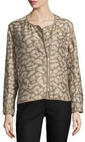 Lafayette 148 New York Charlane Asymmetric Zip-Front Topper, Chai/Multi