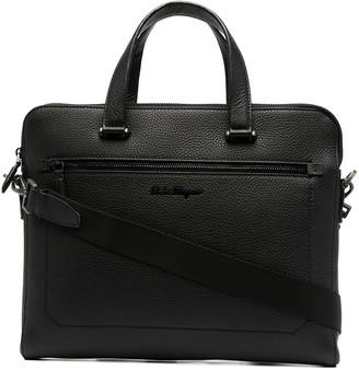 Salvatore Ferragamo Logo Plaque Textured Messenger Bag
