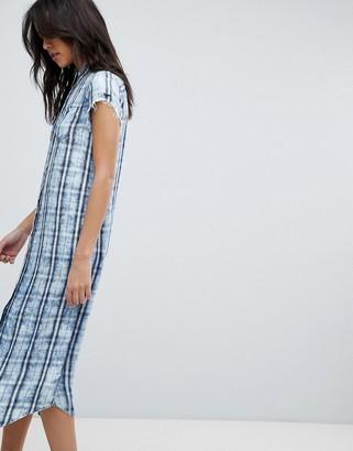 Replay Check Shirt Dress-Blue