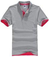 Bestgift Men's Casual Slim Short Sleeve Polo T-shirt 15 Colors Dark Green+Black XXXL
