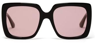Gucci Crystal-logo Square Acetate Sunglasses - Womens - Black Pink