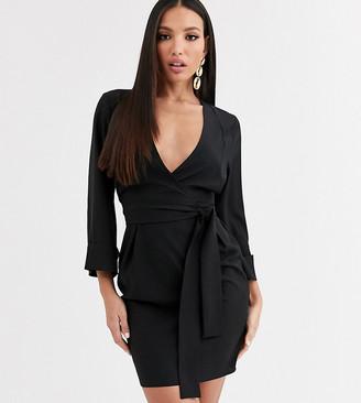 Asos DESIGN Tall kimono sleeve v neck mini pencil dress in black