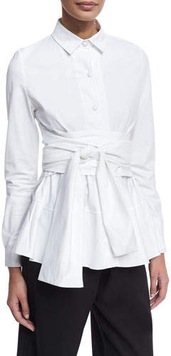 Co Tiered Poplin Shirt with Obi Belt