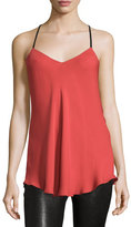 Haute Hippie Leather-Strap Silk Camisole, Red Rose